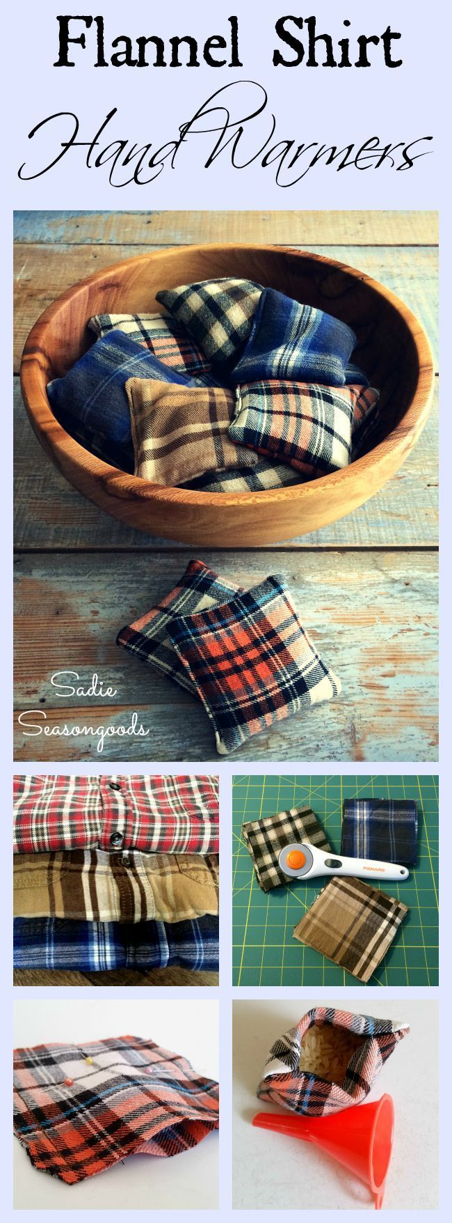Just in time for autumn bonfires, chilly football games, and walking in a winter wonderland- DIY flannel hand warmers using scraps that came from thrifted shirts! Such a simple, quick project- any leftover fabric scraps will do- and you fill them with rice! 25-30 seconds in the microwave and they get nice and toasty- perfect for taking the chill off of cold hands. #SadieSeasongoods