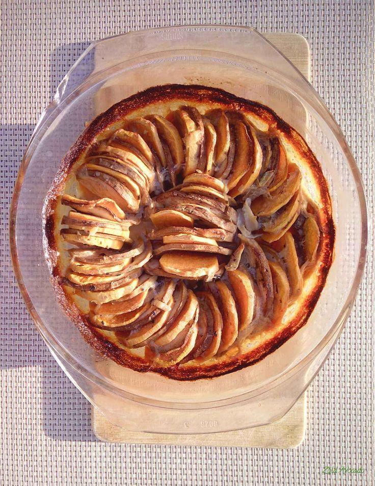 Édesburgonya - padlizsán gratin, azaz a csőben sült verzió (gluténmentes, tojásmentes) / Recept / édesburgonya, padlizsán, kecskesajt, főzőtejszín, tej, fokhagyma, fűszerek