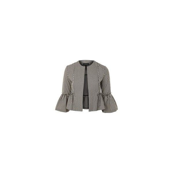 Topshop Gingham Crop Frill Jacket ($26) ❤ liked on Polyvore featuring outerwear, jackets, topshop jackets, ruffle jacket, gingham jacket, cropped jacket and layered jacket