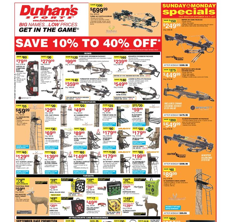 Dunham Sports Weekly Circular September 9 - 14, 2017 - http://www.olcatalog.com/dunhams-sports/dunham-sports.html