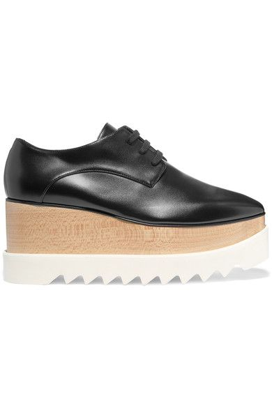 Stella McCartney | Faux glossed-leather platform brogues | NET-A-PORTER.COM