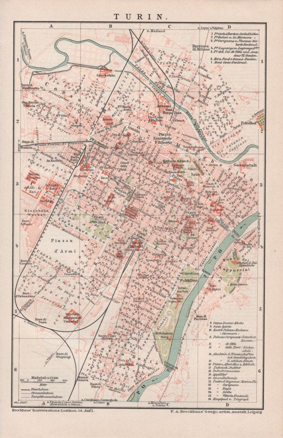 1898 Turin Map Antique Print Vintage Lithograph by Craftissimo