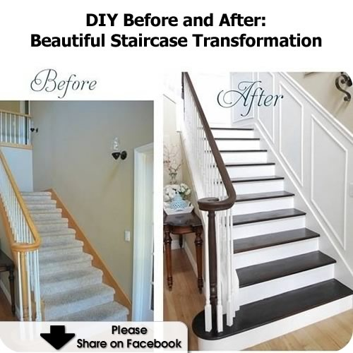 DIY Before and After: Beautiful Staircase Transformation - http://www.hometipsworld.com/diy-before-and-after-beautiful-staircase-transformation.html