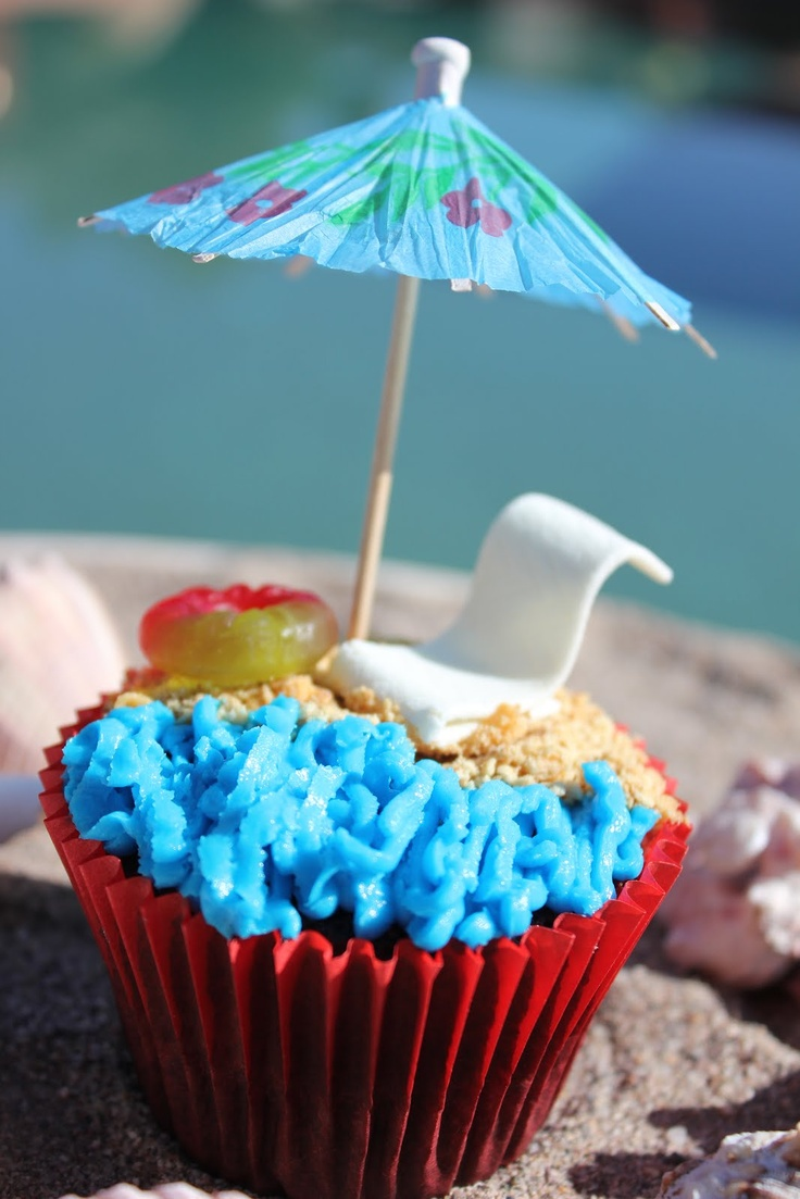 Beach Cupcakes using Wrigley's candy