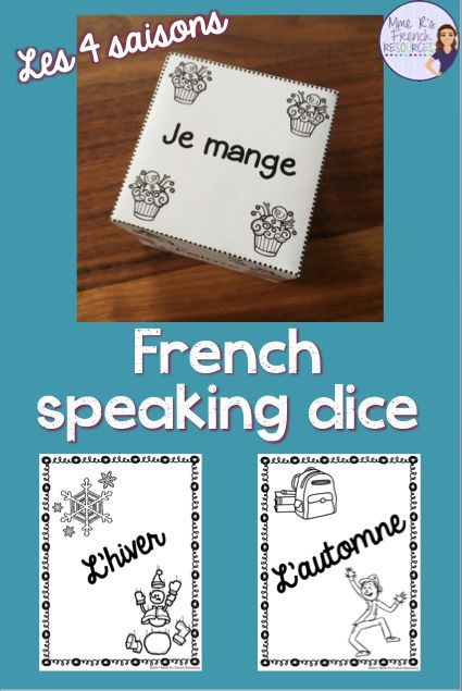 "These 4 speaking dice are the perfect way to get your beginning French students speaking using their seasonal vocabulary and basic verbs in the first person.  Simply cut out the dice, fold them on the dotted lines, and tape them together to make the dice. Each die has 6 sentence starters, such as ""Je vois,"" ""Je vais,"" ""Je porte,"" or Je mange,"" and the students' task is to complete the sentences logically. This can easily be made into a writing activity by using the provided"