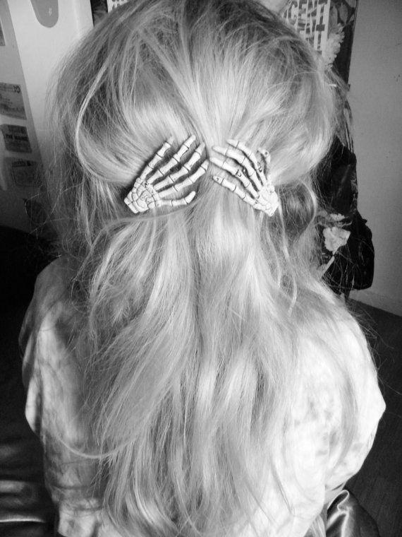 Pair of skeleton hand grunge hair clips by KawaiiKuteness on Etsy, £4.50