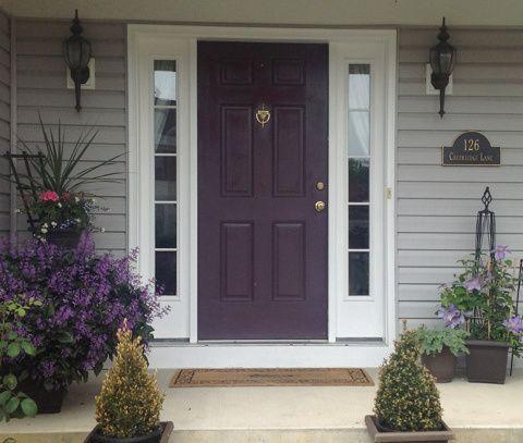 gray house eggplant door