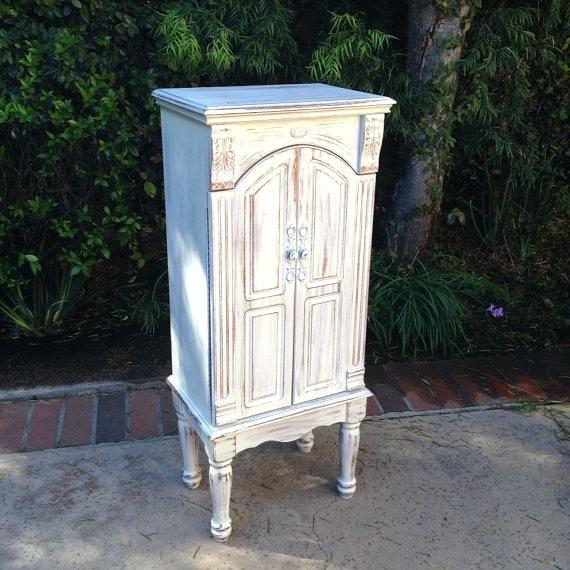 Weiß Standing Jewelry Box - Schrank