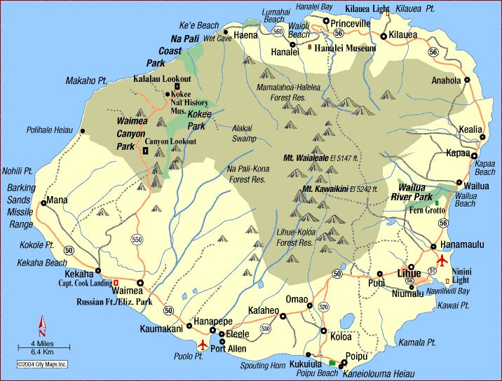 map of kauai towns | Map of Kauai island with roads and cities ...