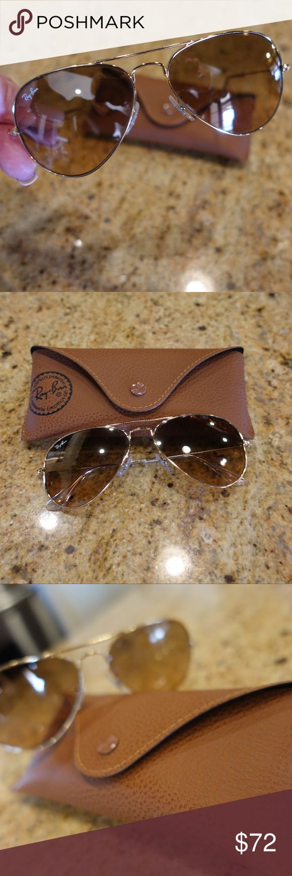 Ray Ban Classic Aviators RB3025 Large Frame Classic Ray Ban Aviators Large Frame RB3025 Light Brown Color. These are pre-owned with normal wear and tear but in great condition.  Comes with case Ray Ban Accessories Sunglasses