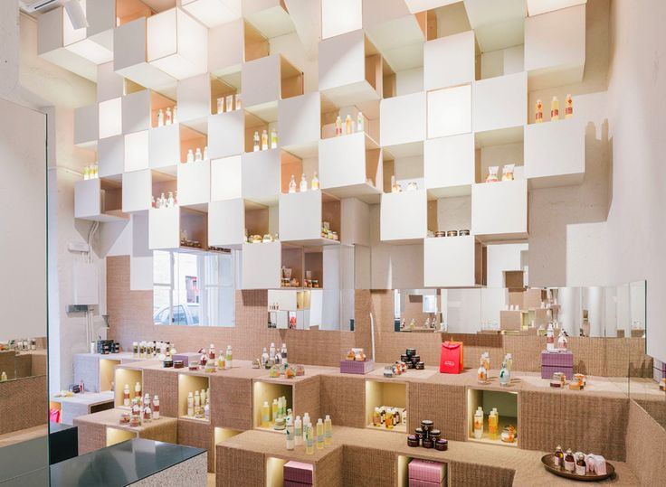 Zooco Estudio created pixelated interior for Nuilea cosmetic shop in Madrid