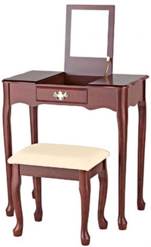 Wooden Dressing Table Set With Mirror Set 3Pcs 1 Drawer Cherry Furniture Bedroom     Get Now  this Fantastic Gift. Check LUXURY HOME BRANDS and buy this Opportunity Now!
