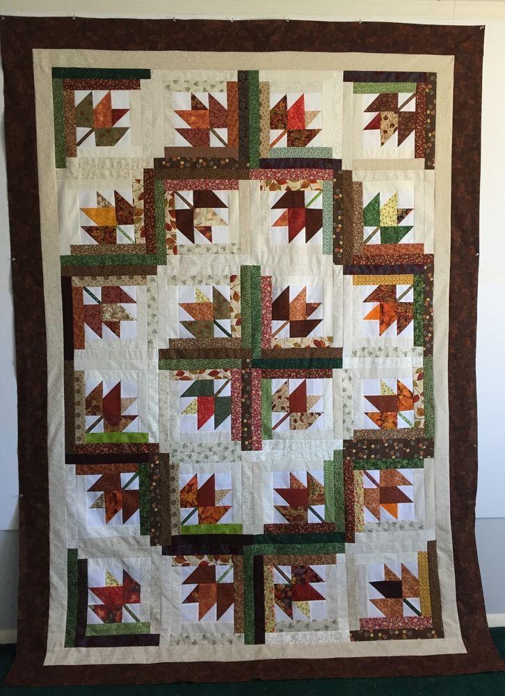 Autumn/Fall Maple Leaf Quilt Top 69 x 87 Halloween Thanksgiving Football Games