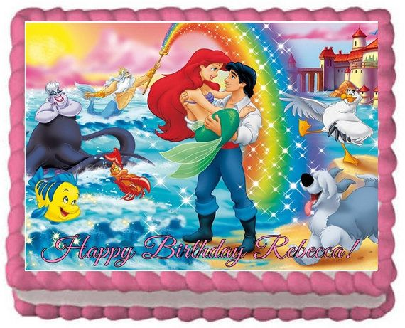 Little Mermaid Edible Image Cake Topper For 1 4 Sheet Or 1