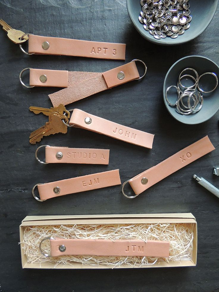 DIY Monogrammed leather key ring So simple