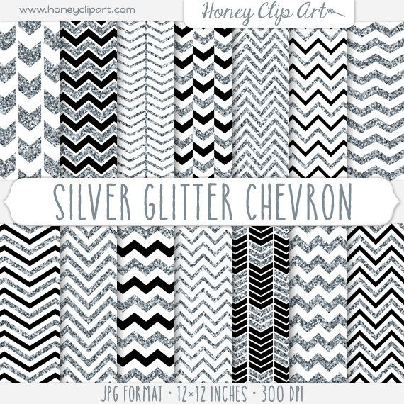Digital Silver Glitter Chevron Background Designs  by HoneyClipArt