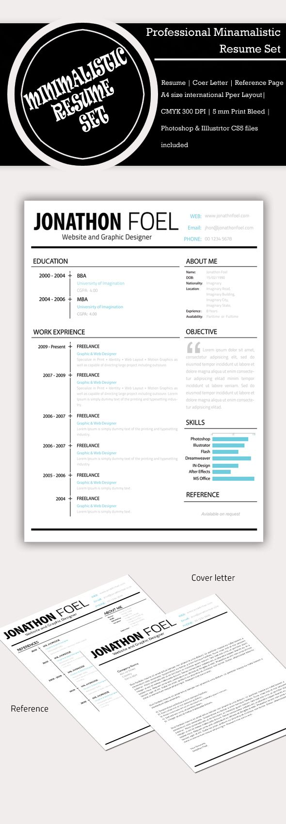 Minimalistic Resume PSD Set (Free-bie) by Simanto , via Behance - Maybe add other bold colors like pink, green, red, orange, etc.