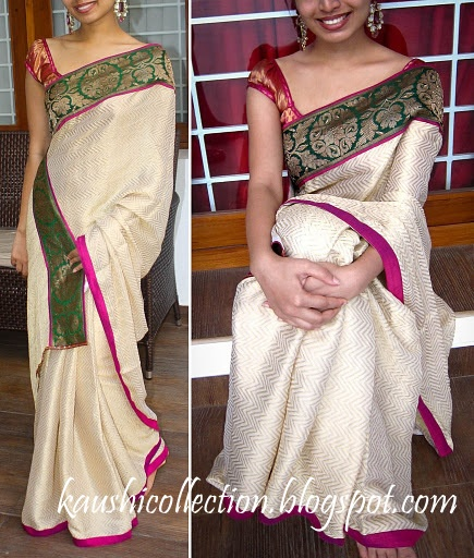 Creme and gold chiffon saree with pink semi raw silk and green brocade borders!!