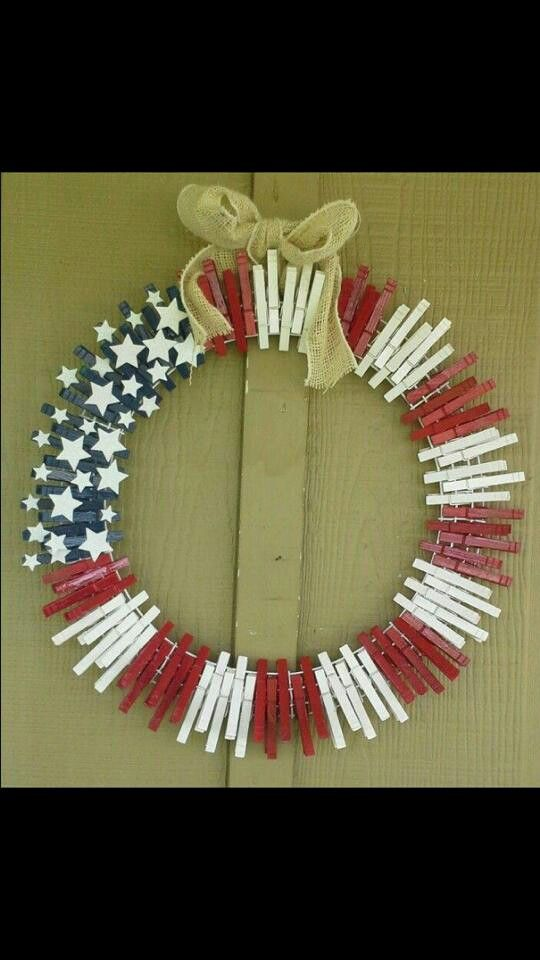 American Flag clothes pin wreath