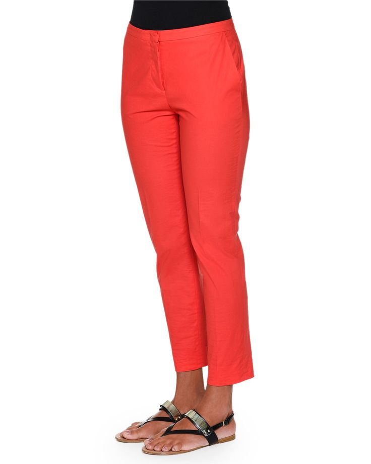 Laura Slim-Leg Ankle Pants, Red
