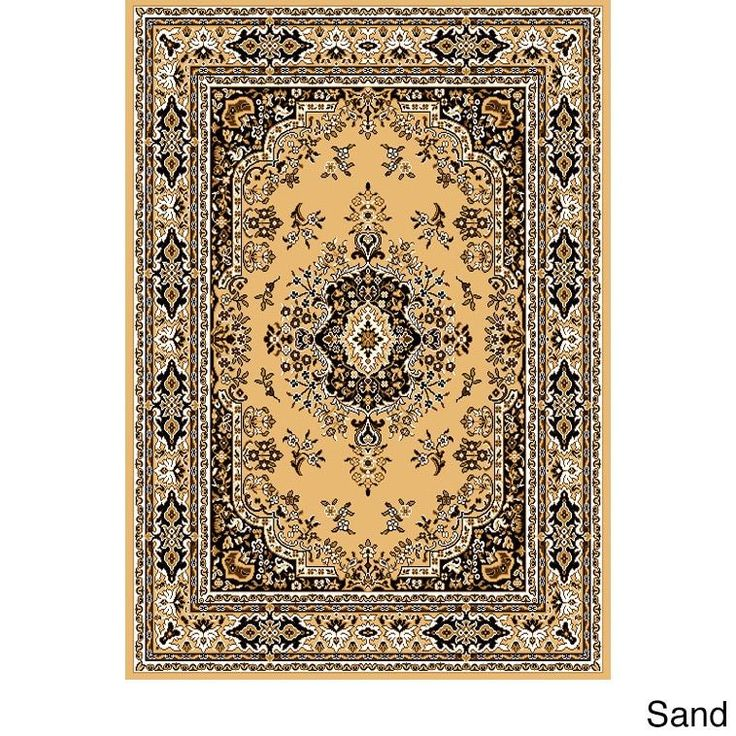 "Home Dynamix Premium Collection Traditional Area Rug (7'8X10'7) (Sand Traditional 7'8"" X 10'7"" Area Rug), Yellow, Size 7'8"" x 10'7"" (Olefin, Border)"