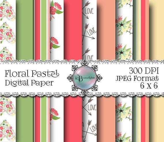 Floral Pastel Digital Papers  Stripes  Patterned by Beauladigitals