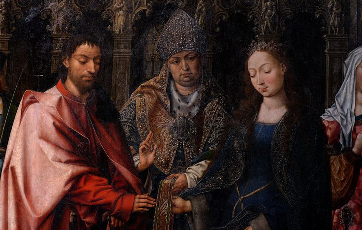 Lier, Vlaanderen, Sint-Gummaruskerk, Goossen van der Weyden, the marriage of the virgin, center panel, detail