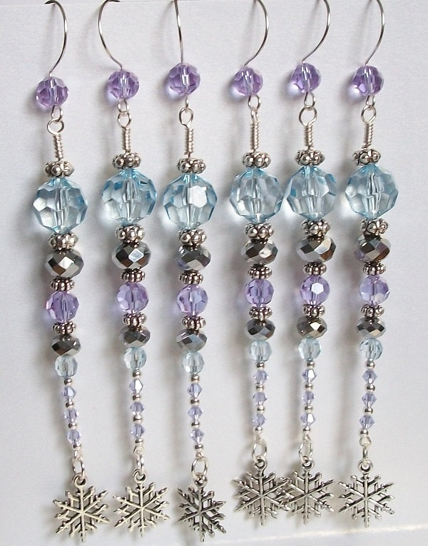 6 Silver and Blurple Blue Purple Beaded Christmas Ornament Set with Matching Hooks Ornaments Xmas Decoration READY TO SHIP. , via Etsy.