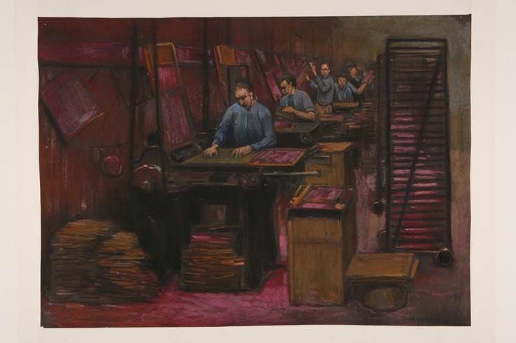 Lucifersfabriek   Het in ramen zetten van luciferhoutjes voor het dompelen van de kop (oude methode).   Heijenbrock