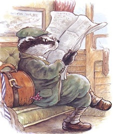 Of course this Badger is reading the newspaper in his jaunty cap