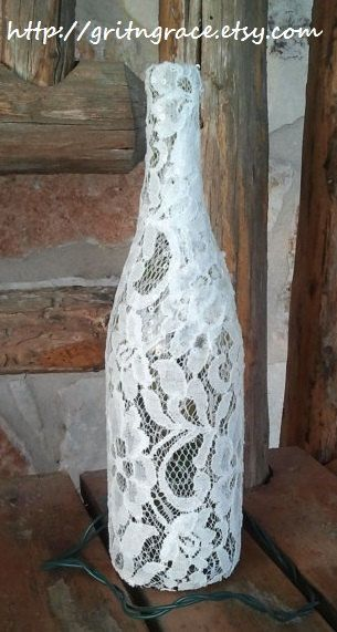 Ivory Lace Covered Wine Bottle Lamp by GritNGrace on Etsy, $25.00