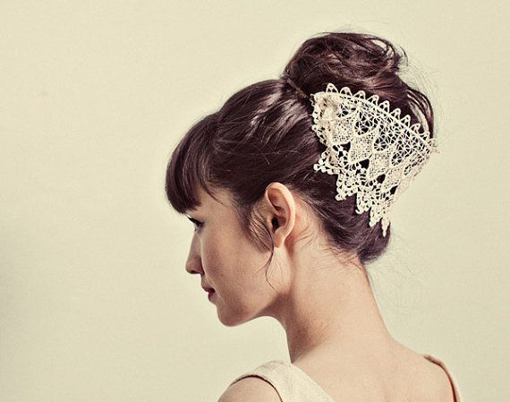 Venetian lace hairpiece Etsy, $50.00... pricey much? But SO cute. If for a wedding, then ok :)