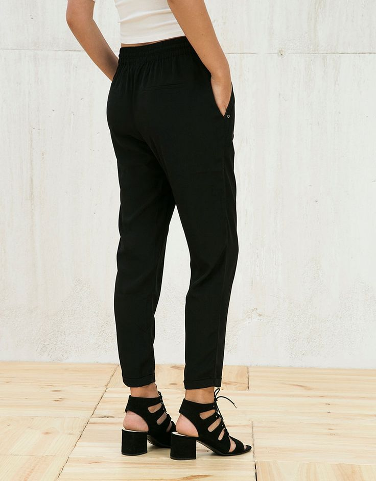 16 Bershka France - Pantalon baggy avec cordon