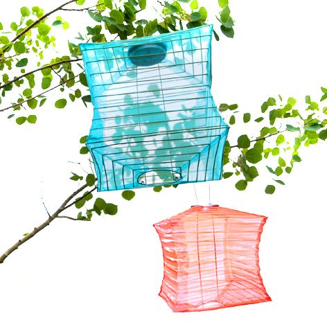 soji solar lanterns silk effects in sky blue and coral