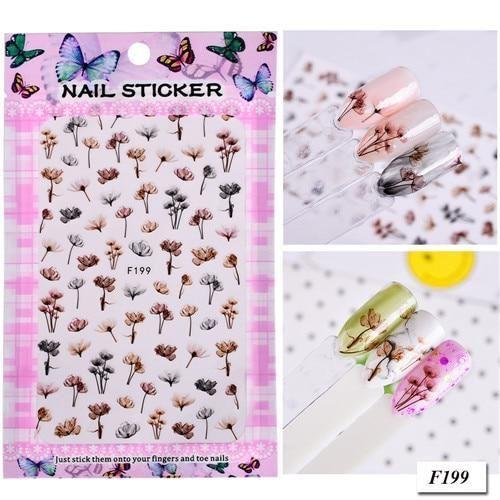 1Sheet Gradient Flower Series 3d Nail Stickers Decals Floral Cartoon A – eefur…