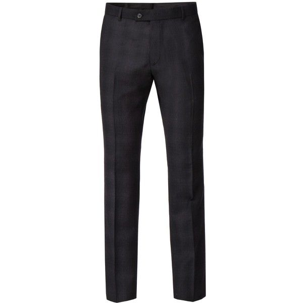 Ben Sherman Wilks Black And Merlot Check Trouser ($79) ❤ liked on Polyvore featuring men's fashion, men's clothing, men's pants, men's dress pants, mens slim fit dress pants, mens slim pants, mens wool pants, mens checkered pants and mens slim fit suit pants