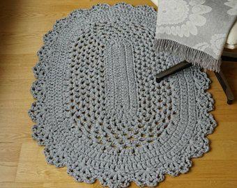 Tappeto Ovale Alluncinetto : Crocheted natural white oval rug tappeti fatti alluncinetto