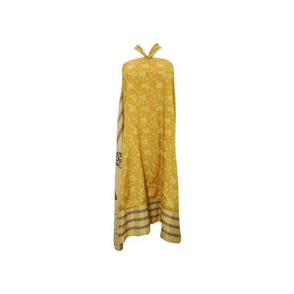 Mogul Women's Magic Wrap Around Skirt Silk Sari 2 Layer Reversible... ($18) ❤ liked on Polyvore featuring dresses, brown vintage dress, silk wrap dress, layered dress, silk wrap around dress and reversible dress