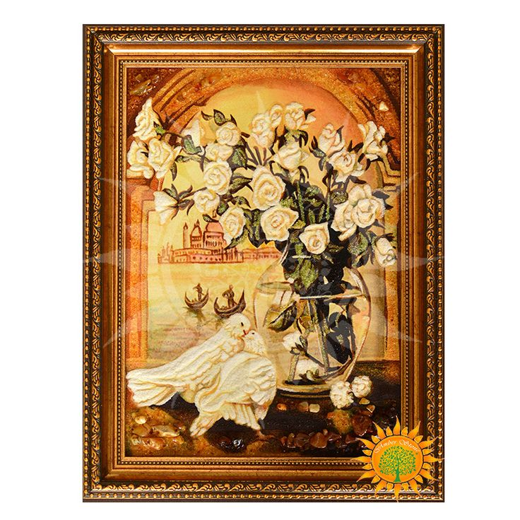 Белые голуби и розы из янтаря - Amber stone