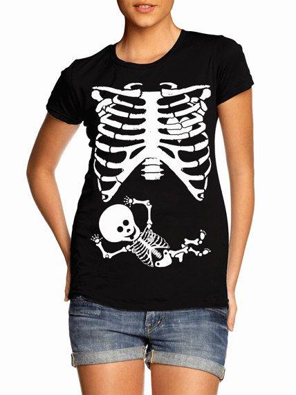 Pregnant Baby Skeleton Rib Cage T-Shirt Funny Halloween Costume Baby Shower Party Maternity Humor Gag Gift Tee Shirt Tshirt S-5XL
