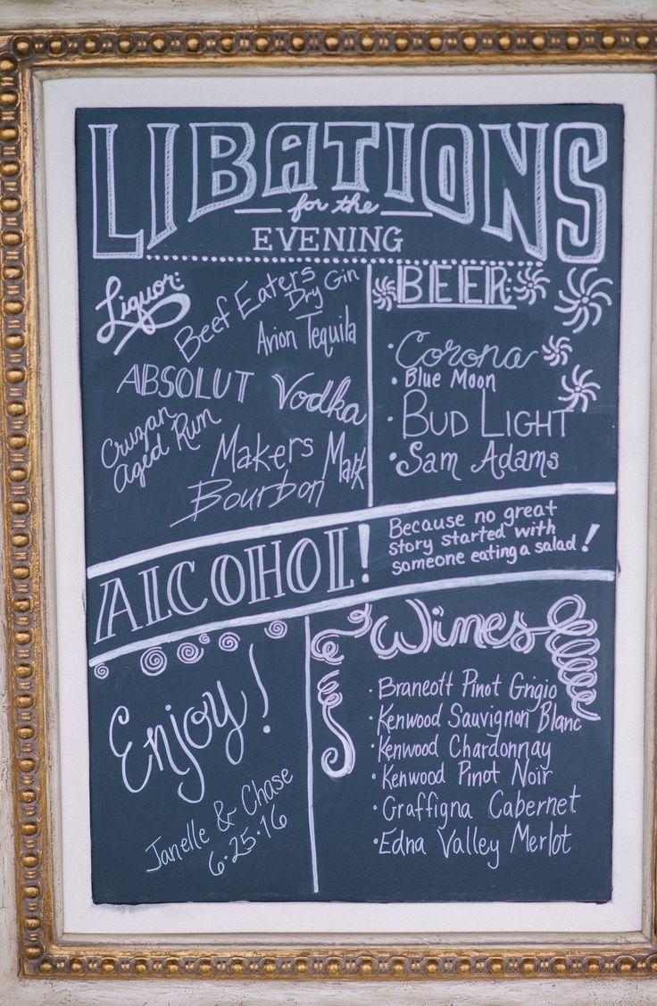 Bar sign rustic wedding alcohol menu wedding