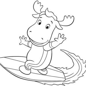 The Backyardigans Tyrone Is Great Surfer In Coloring Page