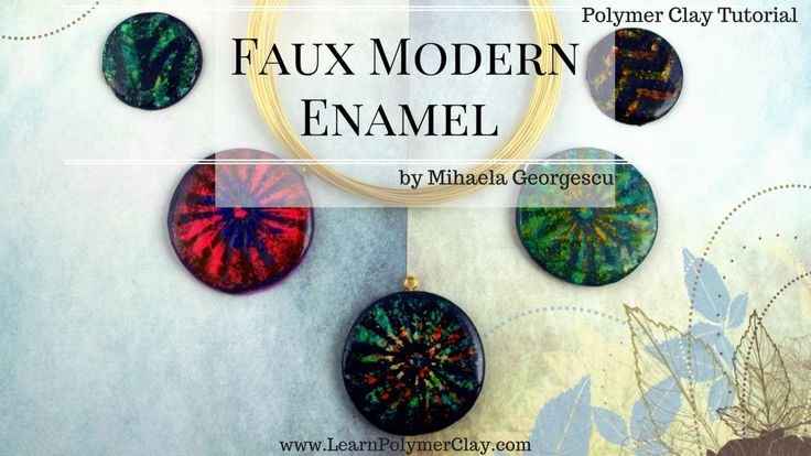 Faux Modern Enamel [Polymer Clay Video Tutorial] using chalk pastels and...