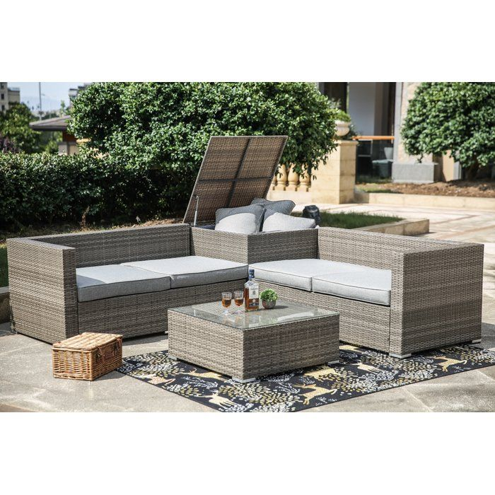 Vankirk 4 Piece Sectional Set With Cushions Backyard Renovations Outdoor Furniture Sets Seating Groups