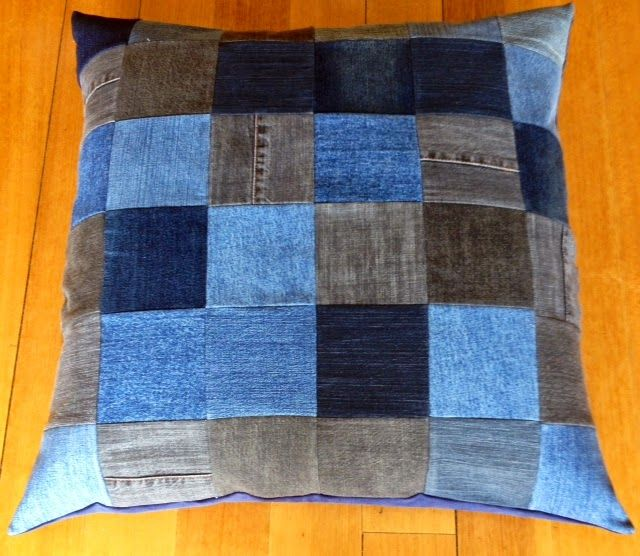 giant, overstuffed denim cushions made with recycled old jeans