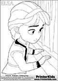 Coloring page with ELSA from the 2013 movie by DISNEY PIXAR called FROZEN (FROST in several countries as well). This coloring page for printing show young princess Elsa in her room.