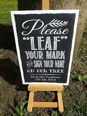 personalised vintage chalk inspired FINGERPRINT TREE INSTRUCTIONS sign print in Home, Furniture & DIY,Wedding Supplies,Guest Books & Pens | eBay