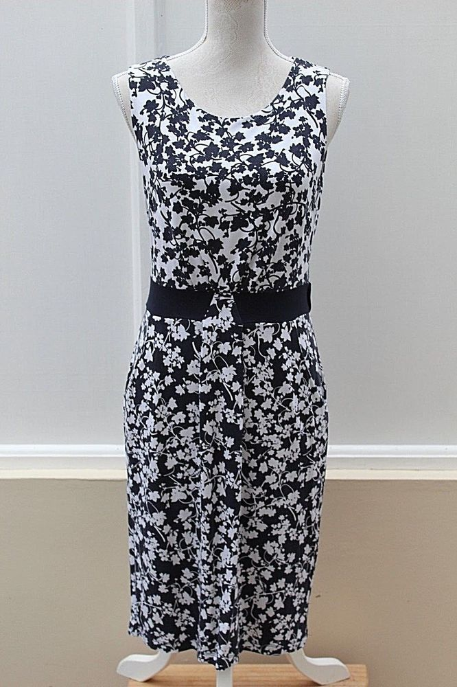 39a00ea9039d4 Size 12   40 HOBBS Black and White Dress Jersey Sleeveless (199 ...