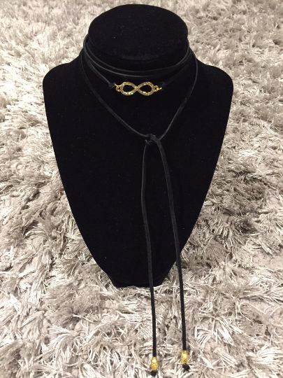 Infinity Choker Necklace Black Suede Wrap Choker  #choker #infinity #suedechoker #thaddesign
