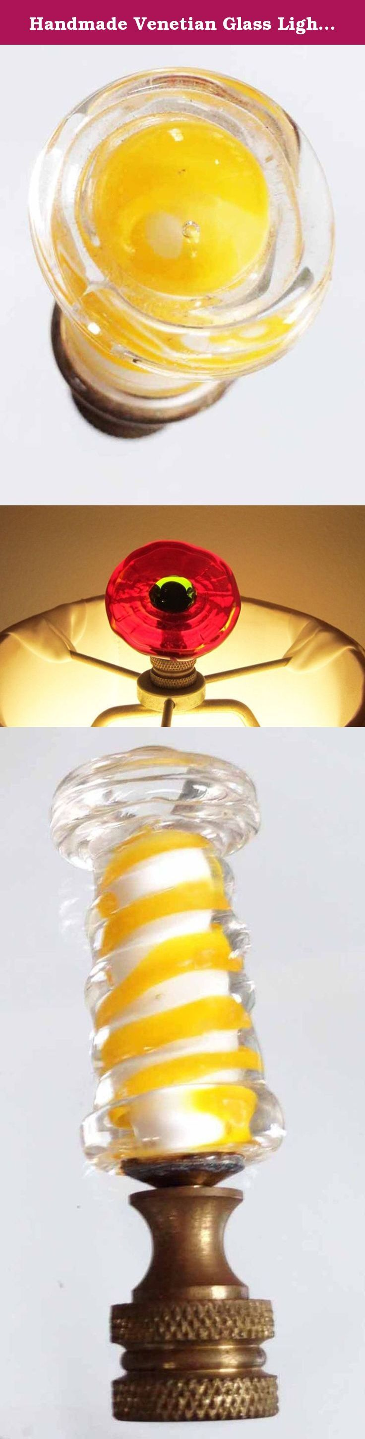 Handmade Venetian Glass Lighthouse Lamp Finial - Yellow White, Crystal Clear Brass Hardware Lampwork Glass - Finials Hold Lampshades On Lamps. Handmade Venetian Glass Lighthouse Lamp Finial - Yellow White, Crystal Clear Brass Hardware Lampwork Glass - Finials Hold Lampshades On Lamps Overall Height about 2 3/4 inch. Hardware is brass. Electrical fittings are commonly made in a universal size and should easily fit your lamp. The retail price of my glass lamp finials start at 45. in fine...